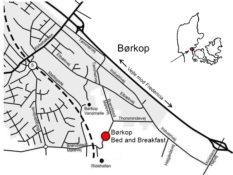 Bed and Breakfast. Stay in Børkop midway between Vejle and Fredericia (Triangle Area).
